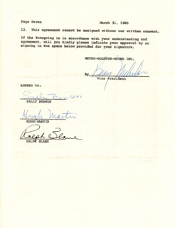 MEET ME IN ST. LOUIS - MOVIE - CONTRACT SIGNED 03/31/1960 CO-SIGNED BY: HUGH MARTIN, RALPH BLANE, SALLY BENSON, BENJAMIN NICHOLSON