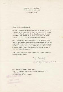 PRESIDENT HARRY S TRUMAN - TYPED LETTER SIGNED 08/30/1967