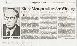 DR. WALTER M. HOHLWEG - NEWSPAPER ARTICLE SIGNED CIRCA 1982