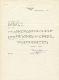 HERVEY ALLEN - TYPED LETTER SIGNED 02/08/1940