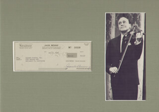 JACK BENNY - AUTOGRAPHED SIGNED CHECK 05/12/1965