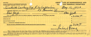 RICHARD BOONE - DOCUMENT SIGNED 05/17/1950