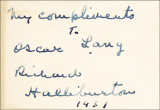 RICHARD HALLIBURTON - INSCRIBED SIGNATURE CIRCA 1937