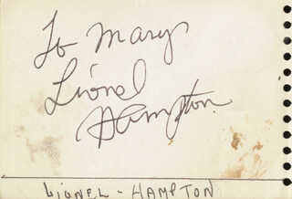 LIONEL HAMPTON - INSCRIBED SIGNATURE CO-SIGNED BY: JEAN GEORGES SABLON