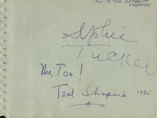 SOPHIE TUCKER - AUTOGRAPH 1935 CO-SIGNED BY: HERBERT RAWLINSON, TED SHAPIRO