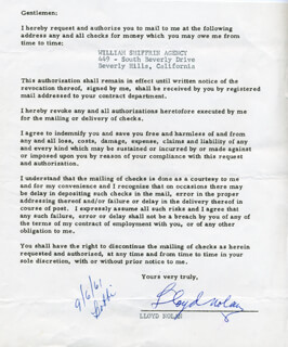 LLOYD NOLAN - DOCUMENT SIGNED CIRCA 1961