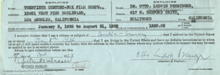 OTTO PREMINGER - DOCUMENT SIGNED 10/17/1938