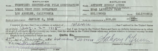 ANTHONY QUINN - DOCUMENT SIGNED 03/24/1942