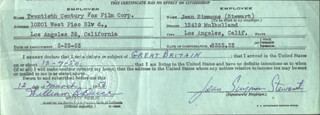 JEAN SIMMONS - DOCUMENT SIGNED 03/13/1953