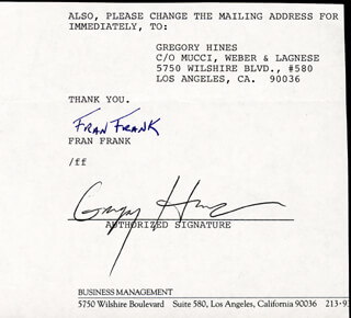GREGORY HINES - TYPED LETTER FRAGMENT SIGNED CO-SIGNED BY: FRAN FRANK