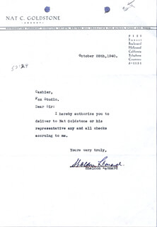 SHELDON LEONARD - TYPED LETTER SIGNED 10/28/1940