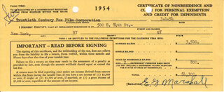 E.G. MARSHALL - DOCUMENT SIGNED 03/01/1954