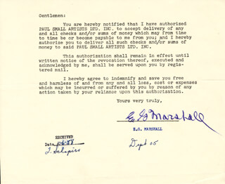 E.G. MARSHALL - TYPED LETTER SIGNED CIRCA 1958