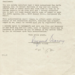 RAYMOND MASSEY - DOCUMENT SIGNED