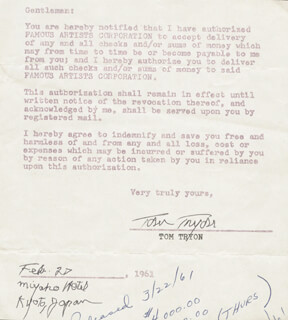 TOM TRYON - DOCUMENT SIGNED 02/27/1961