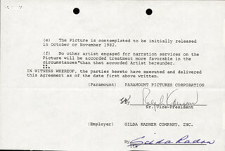 GILDA RADNER - CONTRACT SIGNED 08/06/1982