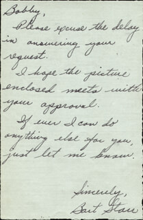 BART STARR - AUTOGRAPH LETTER SIGNED CIRCA 1957