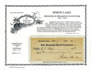 SIMON LAKE - AUTOGRAPHED SIGNED CHECK 11/07/1934