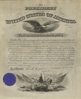 PRESIDENT WILLIAM McKINLEY - MILITARY APPOINTMENT SIGNED 07/07/1897 CO-SIGNED BY: RUSSELL A. ALGER