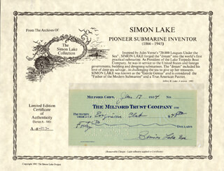 SIMON LAKE - AUTOGRAPHED SIGNED CHECK 01/17/1934