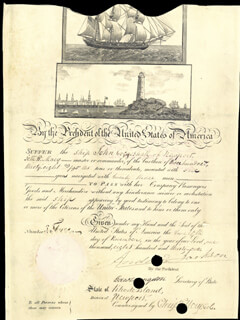PRESIDENT ANDREW JACKSON - WHALING SHIPS PAPERS SIGNED 11/12/1831 CO-SIGNED BY: CHRISTOPHER ELLERY, EDWARD LIVINGSTON