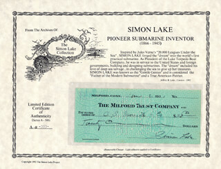SIMON LAKE - AUTOGRAPHED SIGNED CHECK 06/02/1931