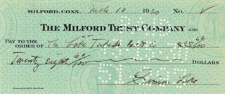 SIMON LAKE - AUTOGRAPHED SIGNED CHECK 03/10/1930
