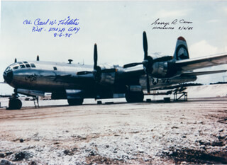 ENOLA GAY CREW - AUTOGRAPHED SIGNED PHOTOGRAPH CO-SIGNED BY: ENOLA GAY CREW (GEORGE R. CARON), ENOLA GAY CREW (PAUL W. TIBBETS)