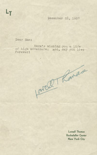LOWELL THOMAS - TYPED LETTER SIGNED 12/22/1937