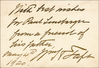 Autographs: PRESIDENT WILLIAM H. TAFT - AUTOGRAPH NOTE SIGNED 05/04/1920