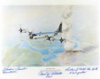 ENOLA GAY CREW - PRINTED ART SIGNED IN INK CO-SIGNED BY: ENOLA GAY CREW (THEODORE VAN KIRK), ENOLA GAY CREW (PAUL W. TIBBETS), ENOLA GAY CREW (COLONEL THOMAS W. FEREBEE)