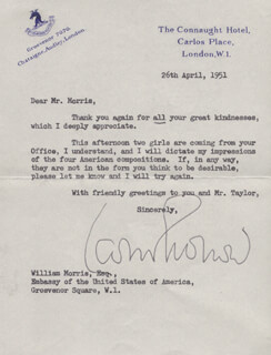LEOPOLD STOKOWSKI - TYPED LETTER SIGNED 04/26/1951