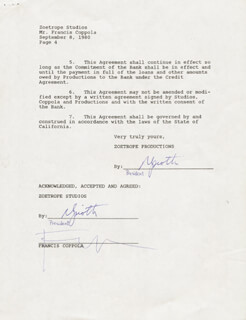Autographs: FRANCIS FORD COPPOLA - DOCUMENT SIGNED 09/08/1980