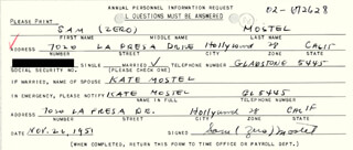ZERO MOSTEL - DOCUMENT SIGNED 11/26/1951