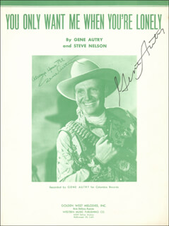 GENE AUTRY - SHEET MUSIC SIGNED