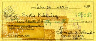 LENNY BRUCE - AUTOGRAPHED SIGNED CHECK 12/20/1962