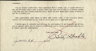 BETTY GRABLE - DOCUMENT SIGNED 06/24/1940