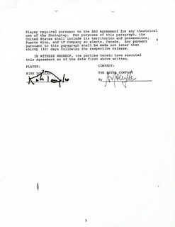 KIRK DOUGLAS - CONTRACT SIGNED 11/26/1984