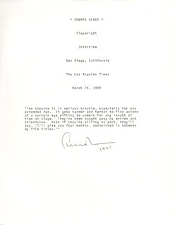 Autographs: EDWARD ALBEE - TYPED QUOTATION SIGNED 1991