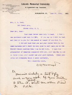 MAJOR GENERAL OLIVER O. HOWARD - TYPED LETTER TWICE SIGNED 06/27/1904