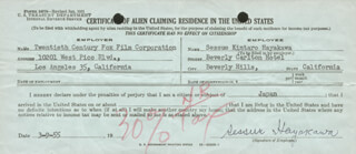 SESSUE HAYAKAWA - DOCUMENT SIGNED 03/09/1955