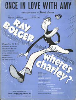 RAY BOLGER - SHEET MUSIC SIGNED