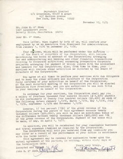 TRUMAN CAPOTE - DOCUMENT SIGNED 11/10/1975 CO-SIGNED BY: JOHN M. O'SHEA