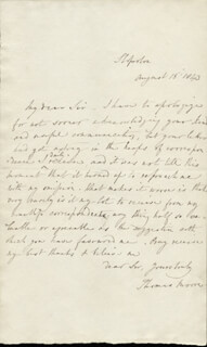 THOMAS MOORE - AUTOGRAPH LETTER SIGNED 08/15/1843