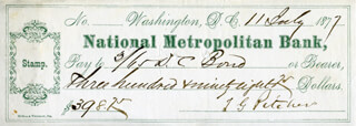BRIGADIER GENERAL THOMAS G. PITCHER - AUTOGRAPHED SIGNED CHECK 07/11/1877