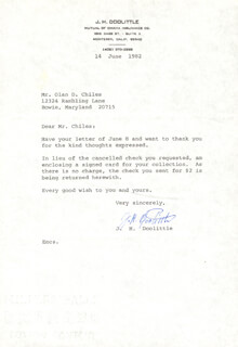 BRIGADIER GENERAL JAMES H. JIMMY DOOLITTLE - TYPED LETTER SIGNED 06/14/1982