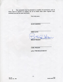 THE BEACH BOYS (BRIAN WILSON) - DOCUMENT SIGNED CIRCA 1990