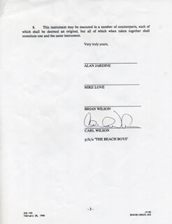 THE BEACH BOYS (CARL WILSON) - DOCUMENT SIGNED CIRCA 1990