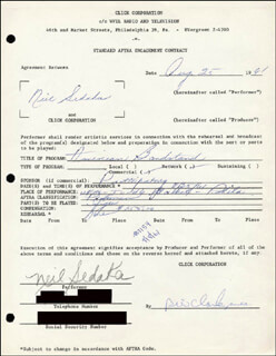 Autographs: NEIL SEDAKA - CONTRACT SIGNED 08/25/1961 CO-SIGNED BY: DICK CLARK