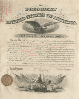PRESIDENT GROVER CLEVELAND - MILITARY APPOINTMENT SIGNED 01/23/1888 CO-SIGNED BY: WILLIAM C. ENDICOTT